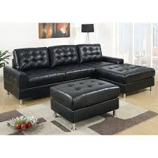 poundex bobkona casual black faux leather sectional