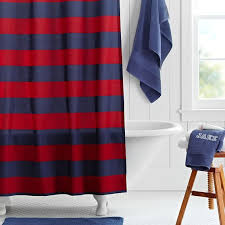rugby stripe shower curtain navy red