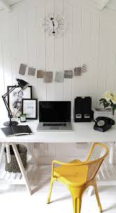 white airy home office. Scandinavian Style Home Office With A Dash Of Yellow! [Design: Owl Design] White Airy
