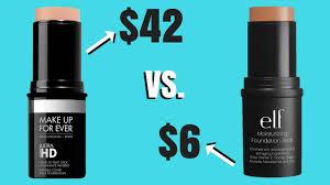 foundation dupe makeup forever hd foundation stick vs e l f moisturizing foundation stick
