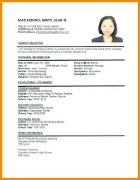 Sample Of Personal Information In Resume Samples Format Earpod Co