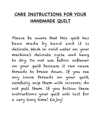 Quilt Care Instructions | Lowcountry Quilts & Embroidery & I print these instructions on decorative printer paper that fits the  holiday or season the quilt is given. I started doing this after attending  an open ... Adamdwight.com