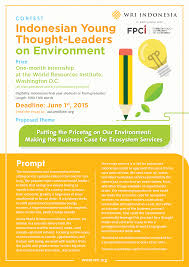 call for essay n young thought leaders on environment call for essay n young thought leaders on environment contest 2015
