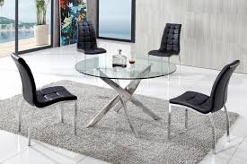 schneider modern glass dining table with akira dining chairs