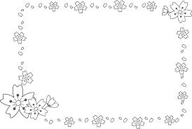 飾り枠ライン無料イラスト素材桜