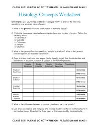 Histology Epithelial Tissue Worksheet