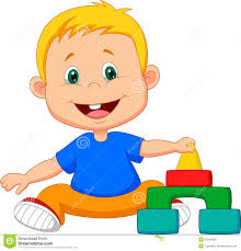 playing cartoon cartoon baby is playing with educational toys stock vector