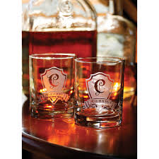 personalized shield initial whiskey glasses set of 2