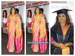 Graduation Saree Design Vidya Balan In Silk Saree Boutiquesarees Com