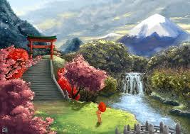 1920x1357 Px Art Asia Cherry Geisha Landscape Umbrella
