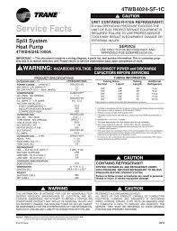 Trane Xb14 Heat Pump Service Facts Manualzz Com