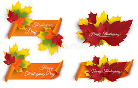 Download Set Of Happy Thanksgiving Banners With Colorful Autumn Leaves And  Paper Scroll Ribbon. Vector