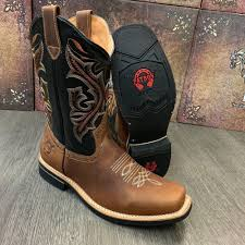 details about men s brown work boots western cowboy square toe real leather botas saddle