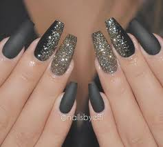 fashion black nails with gold glitter gorgeous shimmer designs and length nail art 13 picture black nails with gold glitter