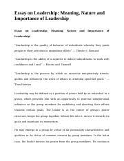 essay on importance of cleanliness essay on importance of 5 pages meaning nature and importance of leadership