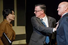 darden creston confronts company executives played by rus r trahan and jeff hole in the april 2017 playwrights round table ion of