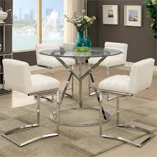 furniture of america vova round glass top counter height dining table