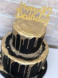 black and gold 40th birthday cake