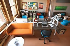 office layout. Colorful And Casual Open Office Layout F