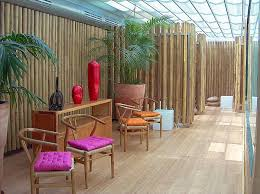 inexpensive bamboo wall panels in tropical interior home fancy upholstered chairs with indoor plants wooden floor
