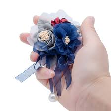 Heb Corsages Prom Cloth Rose Flower Party Flower Wedding Boutonniere Hot Pink Bridesmaid Corsage Hand Flowers For Marriage Accessories Flowers Arrangements For