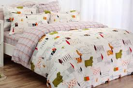 modern white chic dog animal print kids bedding with dogs