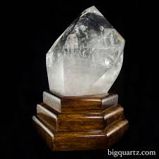 Wooden Light Stand Extra Large Polished Quartz Crystal Point W Custom Wooden Light