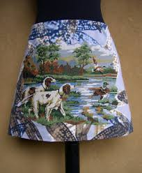A Line Skirt Drentsche Partridge Dogs And Ducks Embroidery Applique Skirt Fully Lined Dogs And Ducks Skirt Blue Brown Gray Size Small