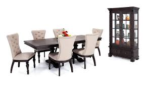 riverdale 8 piece dining set with curio upholstered chairs