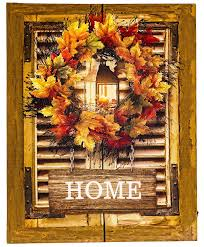 Fall Lighted Canvas Osw 15 75 X 19 6 Fall Wreath Shutter Home Decor Led Art Canvas Light Up Picture