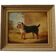 antique dog oil painting c1845 terrier bendor