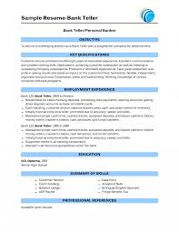 Objective For Banking Resume Resume Objective Bank Teller Banker Sampleor For Entry Level With No 9