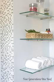 glass shelves for bathroom. diy bathroom renovation {reveal. glass shelves for