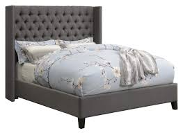 Benicia Upholstered California King Bed with Demi-wings and Button Tufting Grey