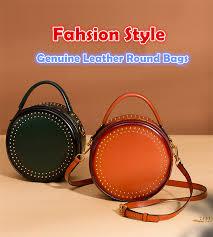 Burminsa Elegant Rivet <b>Round Genuine Leather Bags</b> Small ...