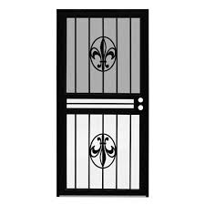 unique home designs 36 in x 80 in guardian black surface mount outswing steel security door with shatter resistant glass idr10000362004 the home depot