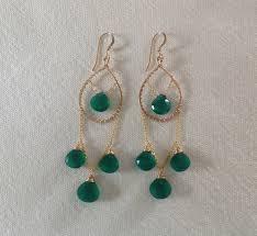 ear 173 faceted green onyx gold filled chandelier earrings