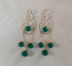 ear 173 faceted green onyx gold filled chandelier earrings