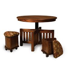5 pc round table bench set with storage