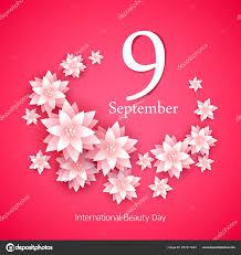 Paper Flower Frame 9 September International Beauty Day Paper Flowers Frame Stock