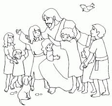 Little Kid Coloring Sheets With Jesus Loves The Little Children