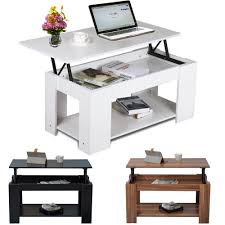 new modern lift up top coffee table with storage shelf teak white black 1 of 9free