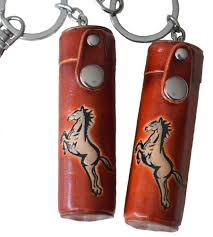 details about a pair of leather chapstick toothpick holder pill case horse pattern brown