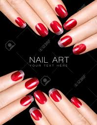 Holiday Nail Art. Luxury Nail Polish With Glitter French Manicure ...