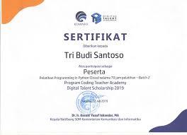Sertifikat Pelatihan Sertifikat Pelatihan Programming In Python Cisco 70 Jam