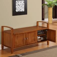 classic polished wooden entryway bench. Wonderful Polished Charming Wooden Finish Entryway Bench Design With Storage Cabinet  Door And Two Armrest  Inside Classic Polished