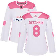 Jersey - Nhl Adidas Washington Women's Capitals pink Ovechkin White Alex 8 Fashion Authentic