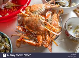 delicious cooked crabs in seafood party ...