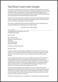 Driver Cover Letters Sample Application Letter For Taxi Driver Taxi Driver