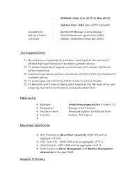 Subway Job Description Resume Download Subway Job